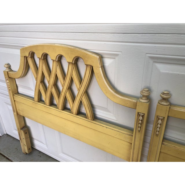 Wood Mid-Century Yellow Chippendale Twin Headboards- a Pair For Sale - Image 7 of 10