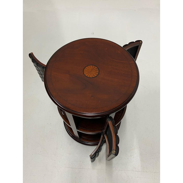 Wood Mahogany and Leather Revolving Book Motife Cabinet For Sale - Image 7 of 9