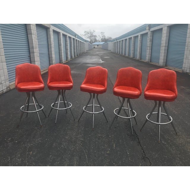 Red Mid-Century Swivel Bar Stools - Set of 5 For Sale - Image 8 of 8