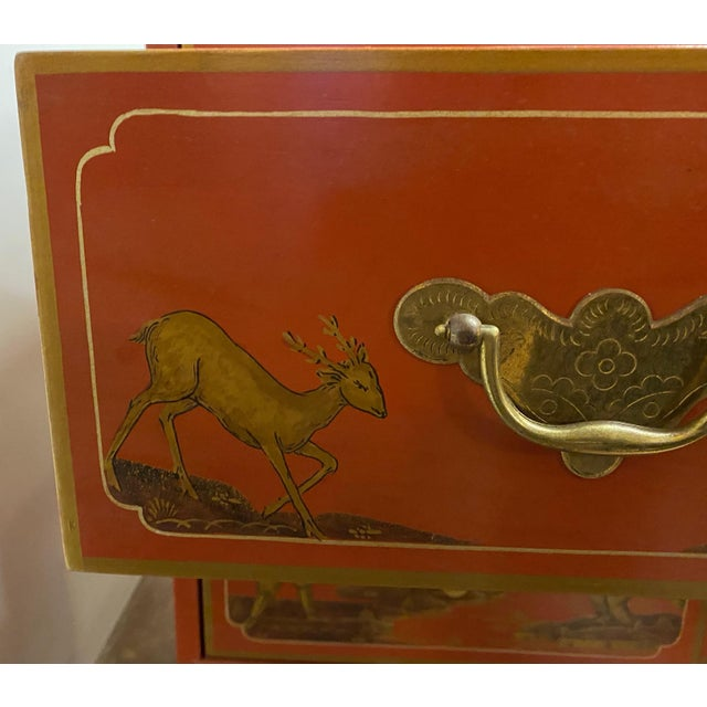 Baker Furniture Company Chinese Red Chinoiserie Chest of Drawers by Baker Furniture C.1970s For Sale - Image 4 of 11
