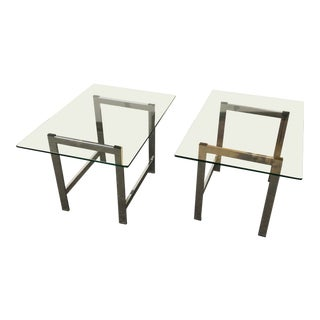 Mid-Century Modern Glass Top / Chrome Base Side Table - a Pair For Sale