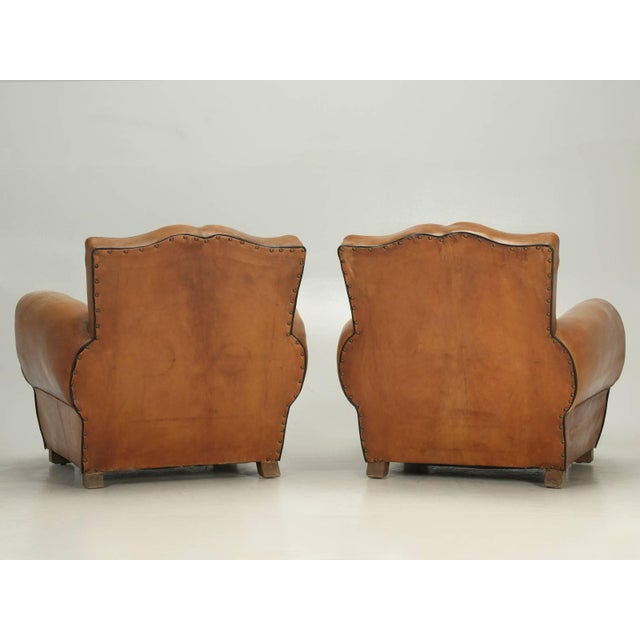 French Fully Restored Club Chairs in Original Leather - a pair For Sale - Image 9 of 10