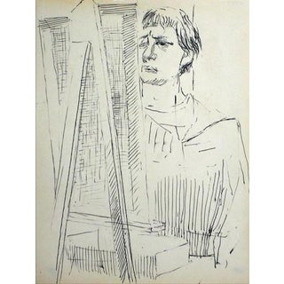 Artist at the Easel Mid Century Ink on Paper For Sale