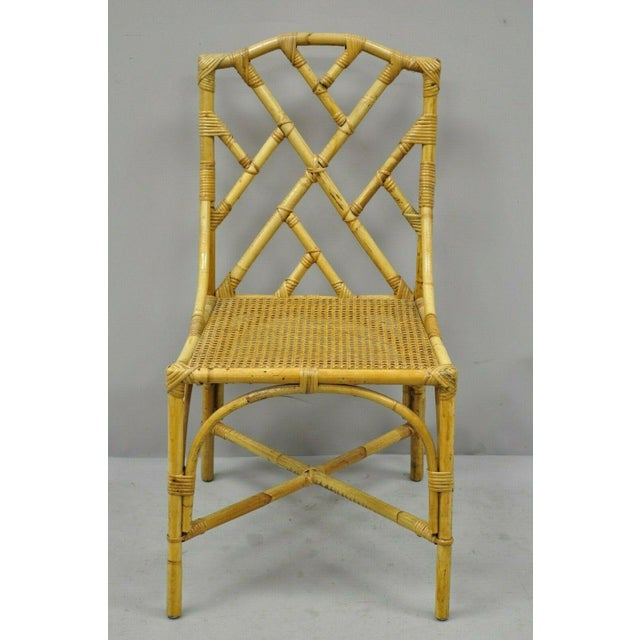 Chinese Chippendale Boho Chic Bamboo Rattan Faux Bamboo Dining Set - 5 Pieces For Sale - Image 12 of 13