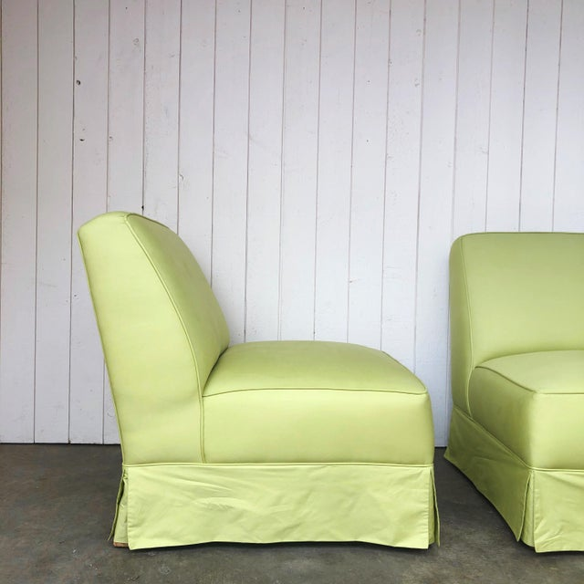 Mid-Century Modern Vintage Custom Made Skirted Lounge Chairs in New Chartreuse Fabric - a Pair For Sale - Image 3 of 11