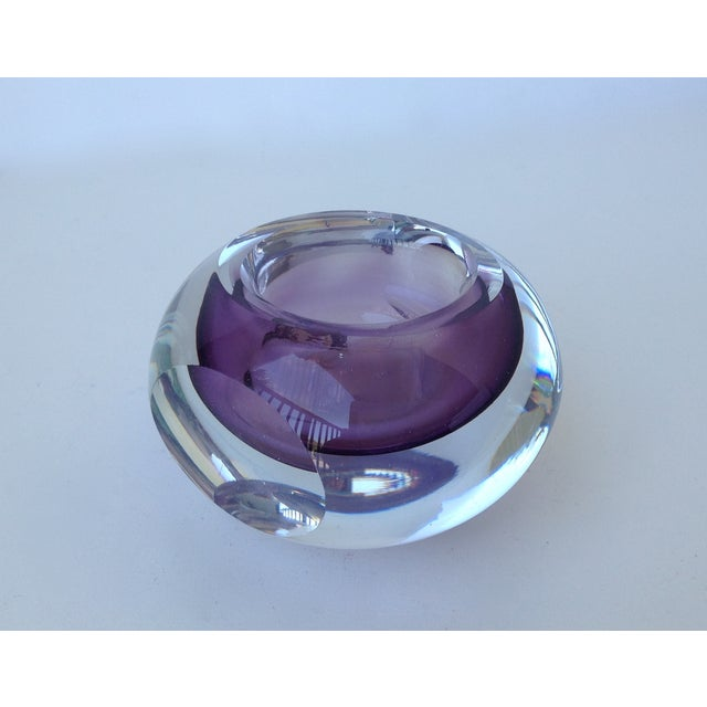 Murano Glass Sommerso Italian Murano Sommerso Purple & Clear Bowl For Sale - Image 4 of 11