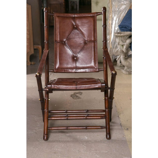 Leather Bamboo-Style Folding Chair - 20 Available For Sale - Image 5 of 9