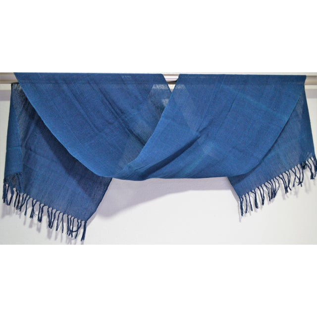 1990s Japanese Indigo Blue Natural Hand Woven Dye Cotton Table Runner With Tasseled Edge For Sale - Image 5 of 5