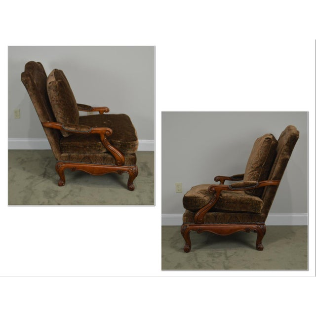 Lounge Fauteuil Houston.Henredon French Louis Xv Style Carved Mahogany Large Pair Fauteuil Lounge Chairs