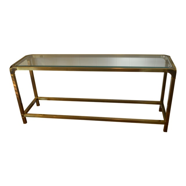 Mastercraft Hollywood Regency Brass Console/Sofa Table - Image 1 of 7