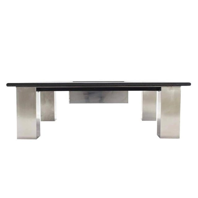 Mid-Century Modern Square Granite Top Coffee Table For Sale - Image 6 of 11