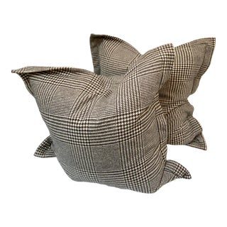Ralph Lauren Black and White Plaid Pillows - a Pair For Sale