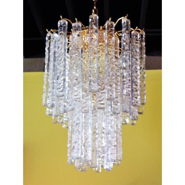 Mid-Century Modern 1960s Mid-Century Modern Mazzega Murano Textured Crystal Chandelier For Sale - Image 3 of 12