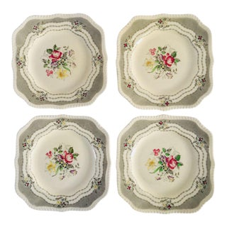 Vintage Cottage Style Floral Square Plates - Set of 4