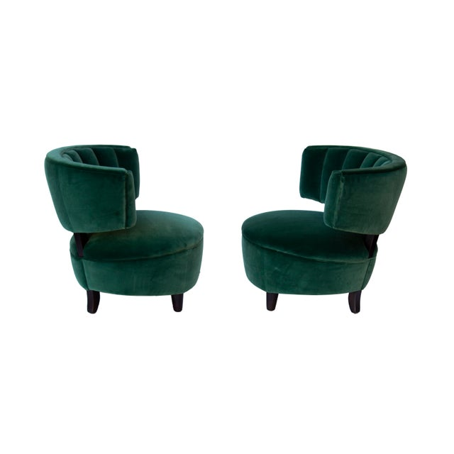 Pair of Emerald Green Velvet Channel Back Chairs After Billy Haines For Sale - Image 10 of 12