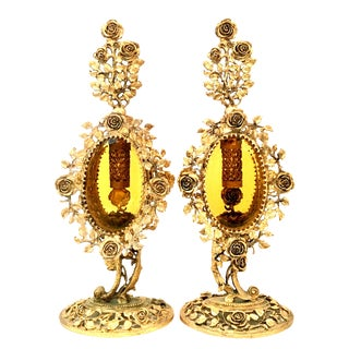20th Century Vintage French Gilt Brass & Amber Glass Perfume Decanters - a Pair For Sale