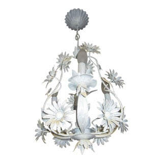 Early 20th Century Pale Blue Painted Floral Three-Light Chandelier For Sale