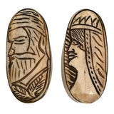 Image of 20th Century African Carved Bone and Silver Trinket Boxes - a Pair For Sale