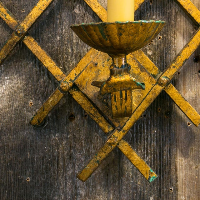 French Gilt-Iron Sconces For Sale - Image 4 of 7