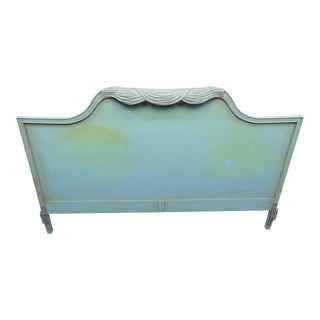 Hollywood Regency Torquoise Kingsize Headboard For Sale