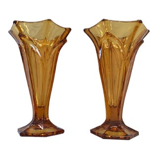 Early 20th Century Czech Art Deco Amber Glass Vase - a Pair For Sale