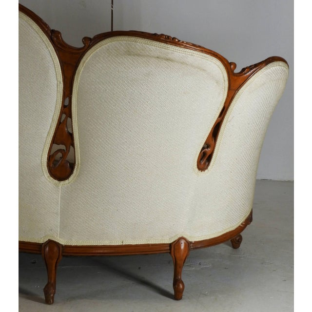 Early 19th Century French Victorian Fabric With Wood Sofa For Sale - Image 9 of 11