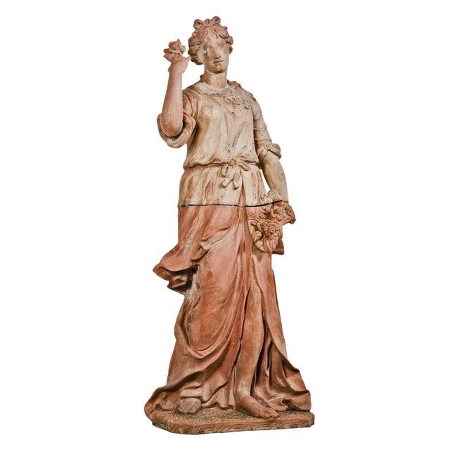 Large Italian Terra Cotta Statue Of Goddess Flora For Sale