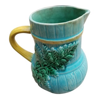 1900s Antique French Majolica Pitcher For Sale