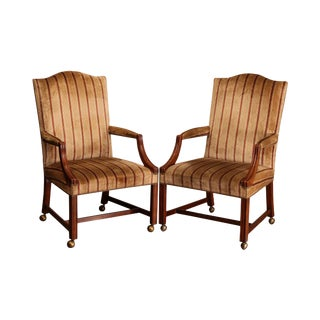 Baker Vintage Chippendale Style Pair Library Armchairs (B) For Sale