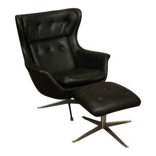 Mid Century Modern Black Tufted Naugahyde Swivel Lounge Chair with Ottoman For Sale