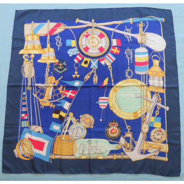 Vintage Gucci Nautical Silk Scarf For Sale - Image 13 of 13
