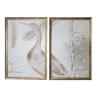 Vintage Chinoiserie Hand-Painted Crane on Champagne Taupe Wallpaper Diptych Paintings - 2 Pieces For Sale