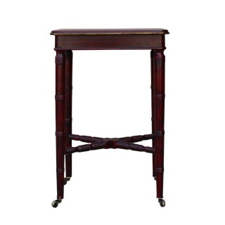 Chinese Oriental Distressed Red Scenery Graphic Side Table For Sale