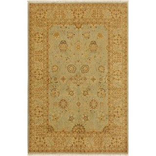 Istanbul Cherlyn Lt. Blue/Gold Turkish Hand-Knotted Rug -4'2 X 5'10 For Sale