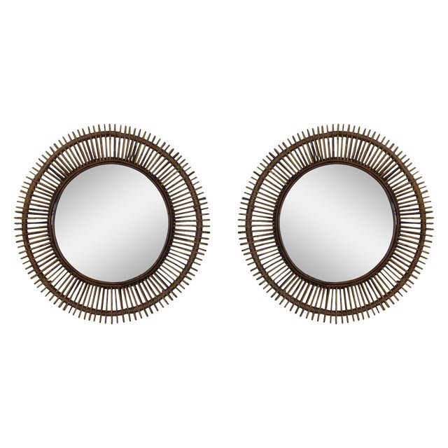 """Contemporary """"Oculus"""" Round Rattan Mirrors - a Pair For Sale"""