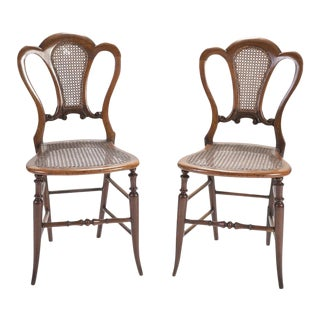 English Mahogany Side Chairs With Cane Seats - a Pair For Sale