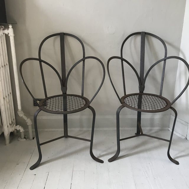 Crate & Barrel Iron Chairs - A Pair - Image 3 of 7