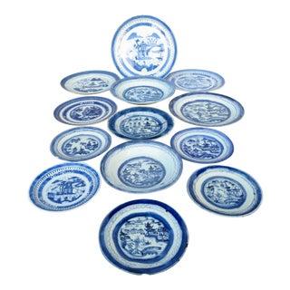 Antique Blue & White Canton Plates - Set of 13 For Sale