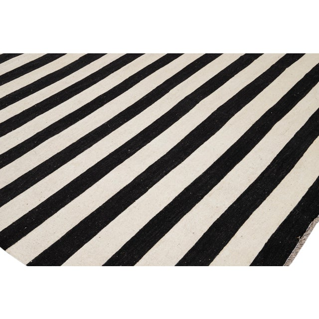 Contemporary Black and White Striped Kilim Flat-Weave Wool Rug For Sale - Image 9 of 11
