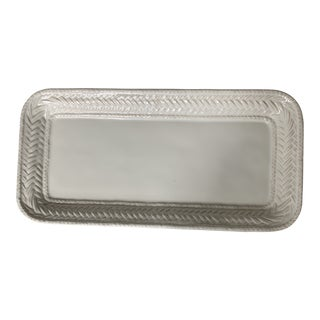Juliska Basketweave Off White Ceramic Tray For Sale