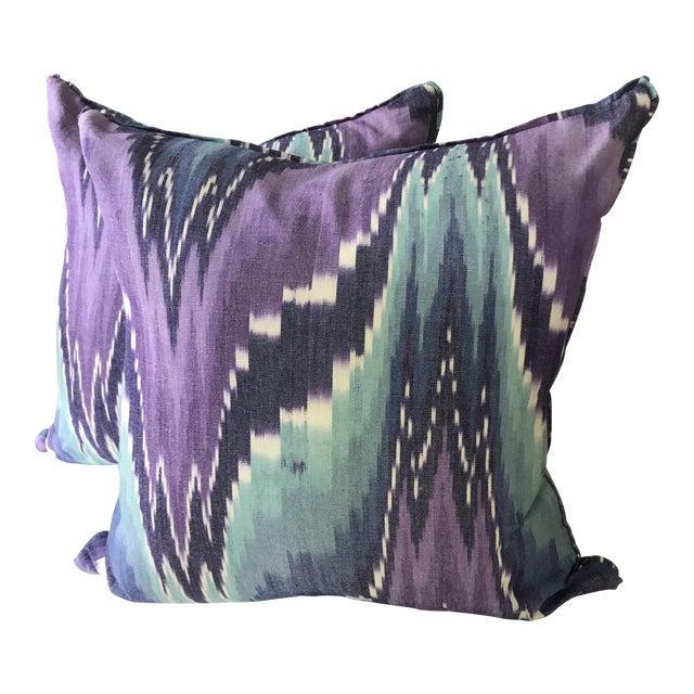 Ikat Butterfly Linen Pillows - A Pair - Image 1 of 9