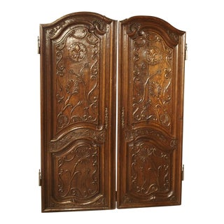 18th Century Vintage French Oak Fleur De Lys Doors- A Pair For Sale