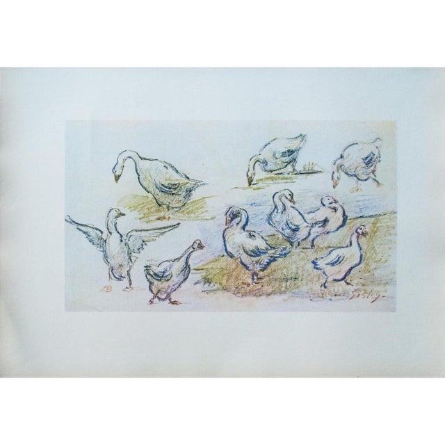 "Large vintage lithograph after Geese pastel by Alfred Sisley. Signed in the print: ""Sisley"". Original work is 7 and 3/16""H..."