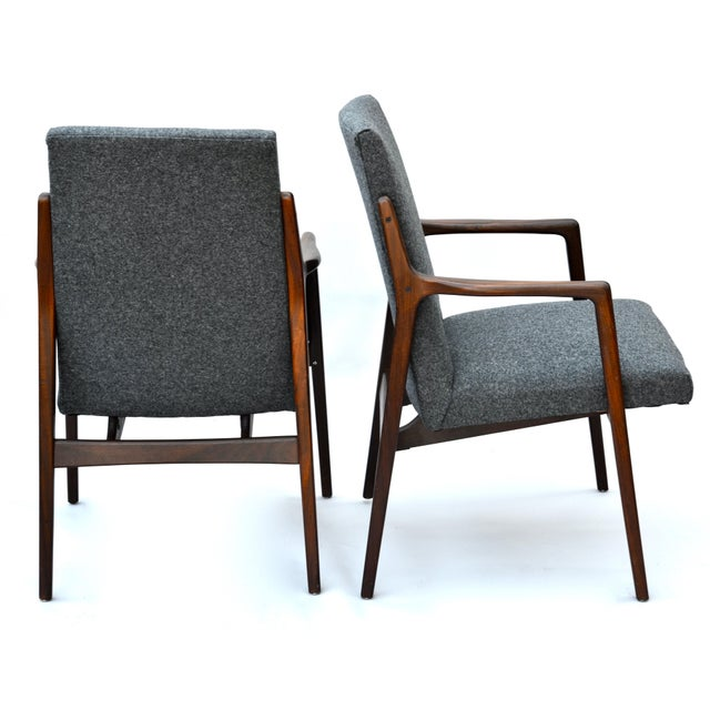 Danish Mid Century Modern Highback Walnut Chair Pair For Sale - Image 4 of 7
