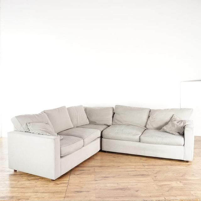 Tan Modern Room & Board Contemporary York Upholstered Sectional Sofa For Sale - Image 8 of 8