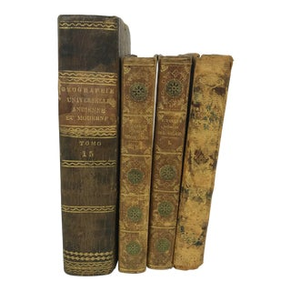 Early 19th Century Antique Grand Tour Golden Age World Traveler Leather Bound Books - Set of 4 For Sale