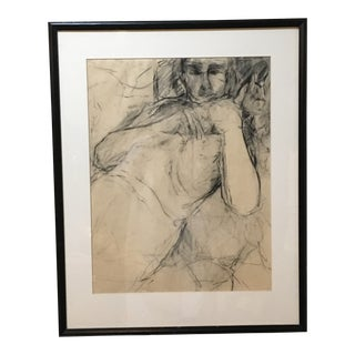 Vintage Original Charcoal Drawing of Male For Sale