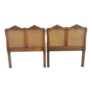 French Country Oak Carved Twin Headboards - a Pair For Sale