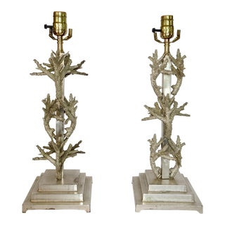 Pair of Coral Design Lamps in Silver Metal For Sale