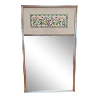 Large Vintage Floral Cross-Stitch Silver Leaf Wall Mirror For Sale